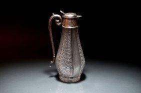 VICTORIAN CUT GLASS AND SILVER EWER