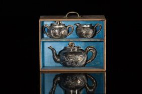 Chinese Export Three Piece Silver Tea Set