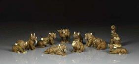 Set Of Twelve Ivory Animal Netsukes