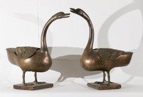 Pair Of Chinese Figural Bronze Censers