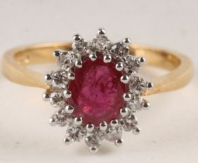 A Ruby And Diamond 18 Carat Gold Cluster Ring, Lon