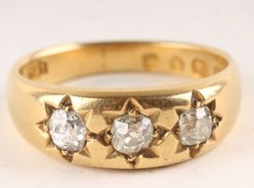 A Three Stone Diamond Ring, Hallmarked But Partial