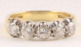 A Five Stone Diamond 18 Carat Gold Half Hoop Ring