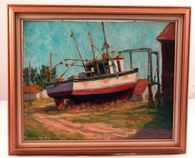 Oil On Board Of A Fishing Vessel