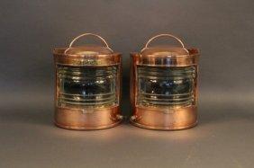 Pair Of Copper Port & Starboard Lanterns