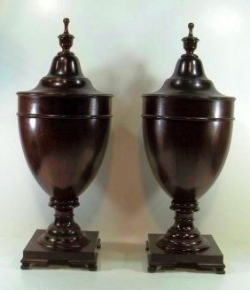 Pair Of Large Mahogany Victorian Cutlery Urns