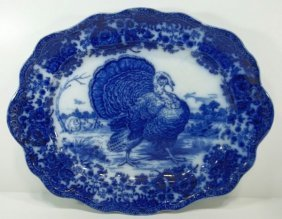 "Flow Blue Staffordshire Platter  ""Tom Turkey"""