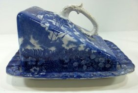 Blue Transfer Staffordshire Cheese Keeper