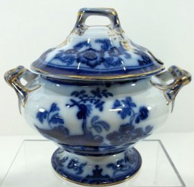 Flow Blue Staffordshire Sauce Tureen