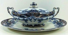Flow Blue Staffordshire Platter & Covered Veg.