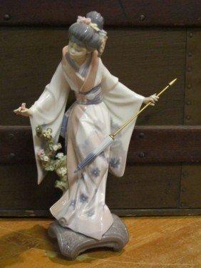 Lladro Geisha Women W Flowers Porcelain Figurine