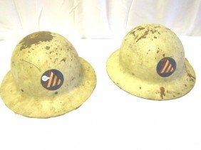 "2- WWII Civil Defense ""Air Raid Warden"" Helmets"