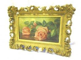 "School House ""Roses"" Still Life Oil On Canvas"