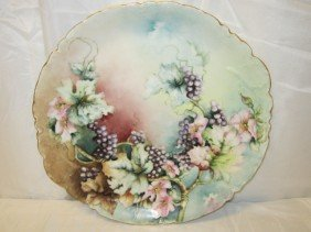 French, Haviland Hand Painted Flower/Berry Charger