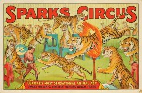 Sparks Circus / Franz Walski's Tigers. Ca. 1924