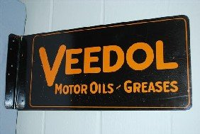 Veedol Motor Oil-Greases Tin Flange Sign,  10x24 In