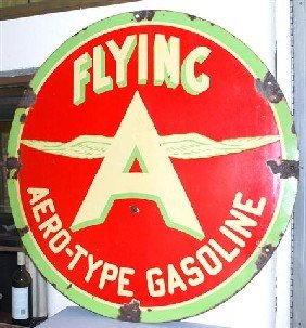 Flying A Aero-Type Gasoline With Chicken Wing Logo,