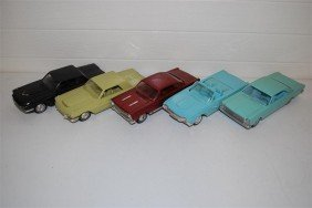 5-Promo Cars, All Have Been Repainted, Plastic,