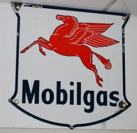 Mobilgas With Pegasus PPP Shield-shape Sign, 12.5x12