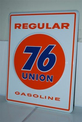 Union 76 Regular Gasoline, PPP Embossed Sign, 18x14