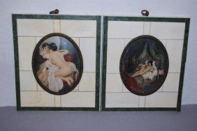 2- Small French Framed Paintings On Ivory With Ivor