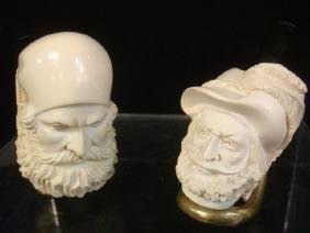 Two Unsmoked Carved Meerschaum Tobacco Pipes/Stands: