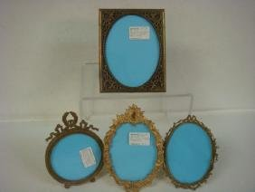 Four Fancy Antique French Metal Picture Frames: