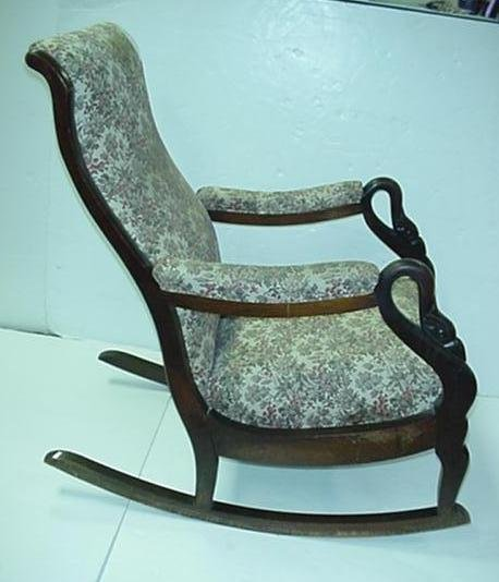 737 Mahogany Frame Upholstered Swan Neck Rocking Chair