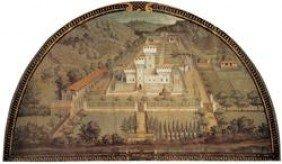 """Giusto Van UTENS """"Castle Of Cafaggiolo"""" Lunette:"""