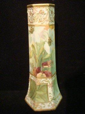 Handpainted Nippon Paneled Vase:
