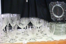 Cut And Polished Crystal Stems, Plates, 26 Pieces: