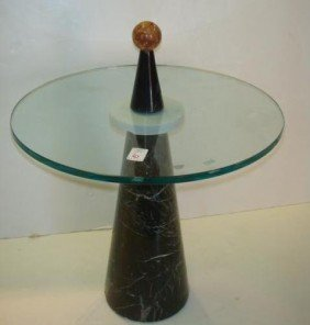 1950's Marble Base Glass Top Round Side Table: