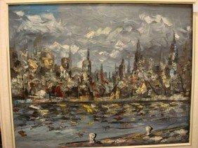 Unsigned RANGE Harbor Cityscape Oil On Canvas: