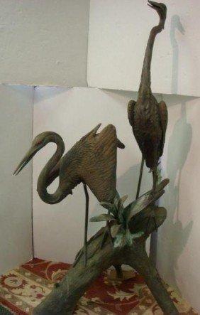 Bronze Seven Foot Double Heron Garden Fountain: