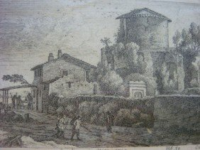 HERMAN VAN SWANEVELT Appian Way Dry Point Etching