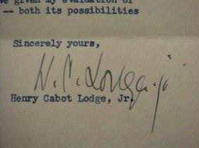 Personal Letter Signed, HENRY CABOT LODGE JR.: