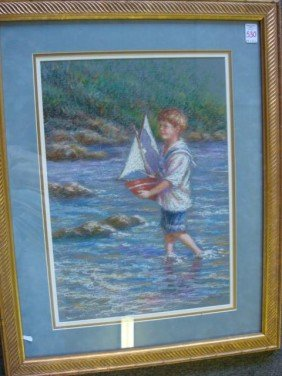 KAREN SCHAEFERS Young Boater Pastel: