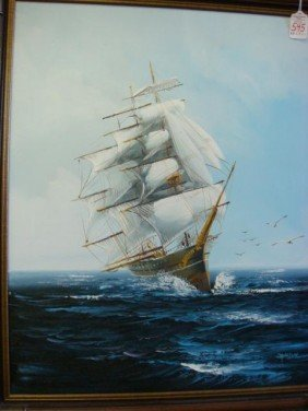 Signed JACKSON Oil On Canvas Sailing Ship: