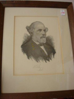 Etching Of Robert E. Lee: