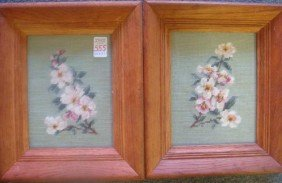 Two Floral Needle Point Pictures In Oak Frames: