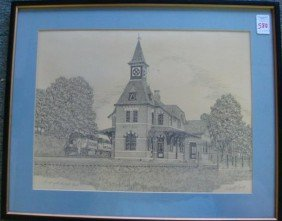 """Signed """"Point Of Rocks, Md"""" Train Station Print:"""