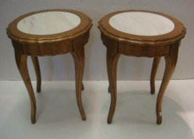 Pair Of French Influenced Marble Top Jardini�re Ta