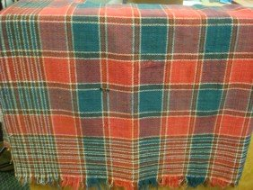 1850's PA Red And Green Wool Fringed Coverlet: