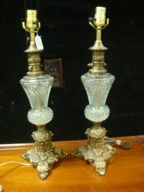 Pair Of Pressed Glass And Metal Lamps: