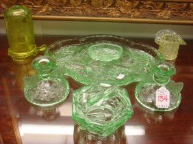 Vaseline And Green Glass Dresser Items, 6 Pieces: