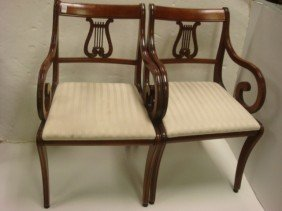 Pair Of 1940's Lyre Back Arm Chairs: