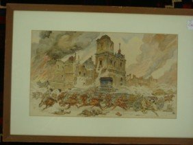 Signed JERZY KOSSAK German WW II Art, Watercolor: