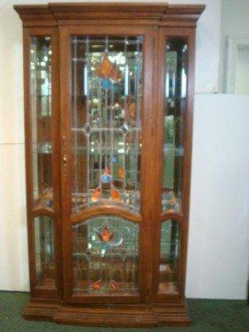 Single Beveled And Leaded Door Oak China Cabinet: