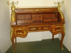 Louis XV Style Marquetry Inlaid Cylinder Desk: