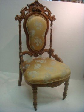 Victorian Shield Back Chair With Carved Crest: